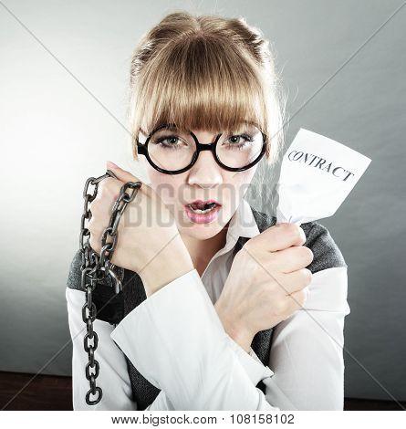 Businesswoman Woman Ending Breaking Contract.