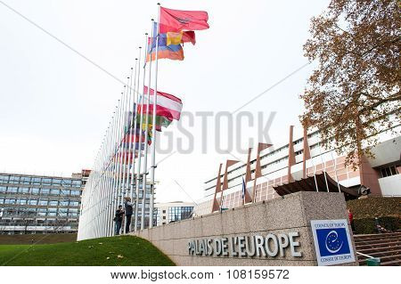 All European Union Flag Flies At Half-mast In Front Of The Council Of Europe