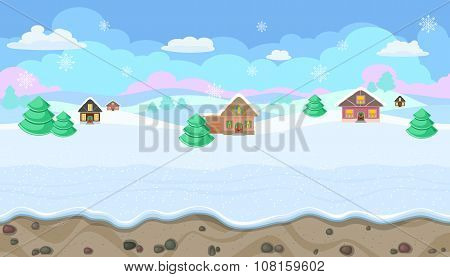 Seamless Christmas Landscape With Hills And Houses For Game Design
