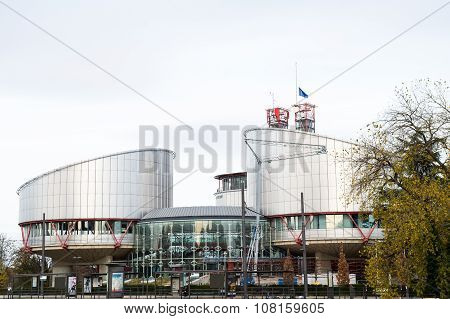 European Union Flag Flies At Half-mast Echr