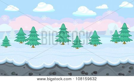 Seamless Winter Landscape With Fir Trees For Christmas Game Design