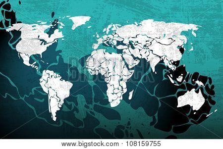 Grunge blue worldmap