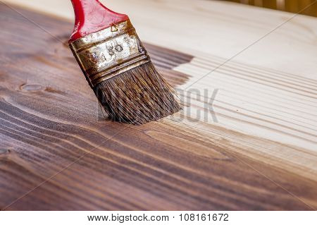 Wood Texture And Paintbrush