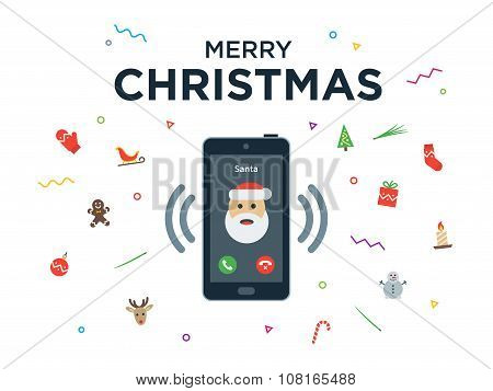 Christmas phone call from Santa Claus with Greeting Card and Happy New Year lettering