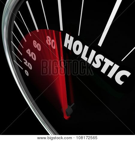 Holistic word on speedometer to illustrate a whole or total approach reaching balance of mind, body and soul