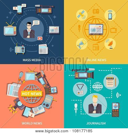 Journalism icons set with online and world news symbols flat isolated vector illustration poster