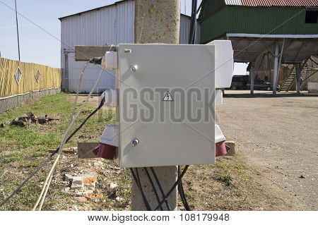 Temporary electrical control box on the building site