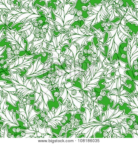 Christmas Holly Seamless Pattern.