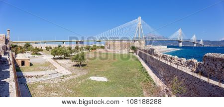 Panorama of Rio castle, Rio-Antirrio bridge in the background, Peloponnese, Greece