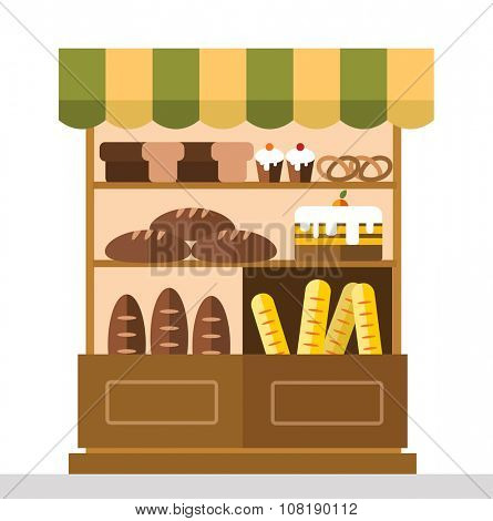 Bakery shop stall with bakery products. Bakery cakes, bread, bakery shop stall isolated. Food shop, cake cafe, bread shop isolated. Bakery store background. Bakery products, bakery shop, bakery sweets