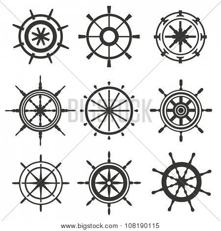 Vector rudder black and white flat icons set. Rudder wheel illustration. Boat wheel control rudder vector icons set. Rudders, ships, sea, wheel, round, control, yacht, cruise. Rudder icon. Wheel icons