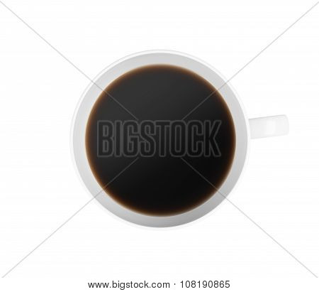 Top View Of A Cup Of Coffee. Isolated On White Background. 3D Rendering.