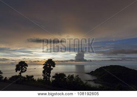 Sihouette Sunset At Phromthep Cape