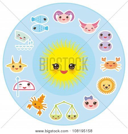 Funny Kawaii Sun, zodiac sign, astrological stiker set virgo, aries, gemini, cancer, aquarius, tauru