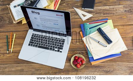 Desk of person keeping on-line diary