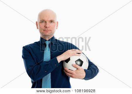 Portrait Of A Young Businessman With Soccer Ball
