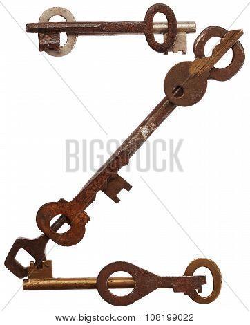 Alphabet from old keys. Letter Z