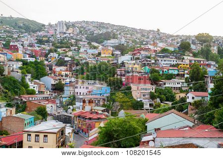 NOVEMBER 7 - VALPARAISO: Aerial view of the Concepcion and Alegre districts of the protected UNESCO World Heritage Site of Valparaiso on November 7 2015 in Valparaiso Chile