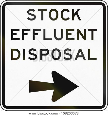 New Zealand Road Sign - Stock Effluent Disposal Point, Turn Right