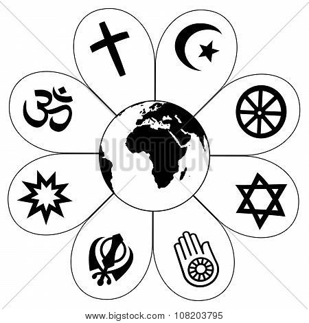 World Religions Planet Earth Flower Icon