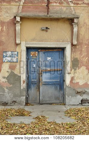 Closed door of the old house.