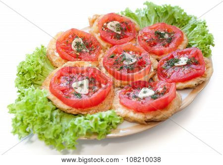 Vegetarian sandwiches on the lettuce - zucchini and eggplant slices fried in the batter tomato garlic dill. Close up isolated on white poster