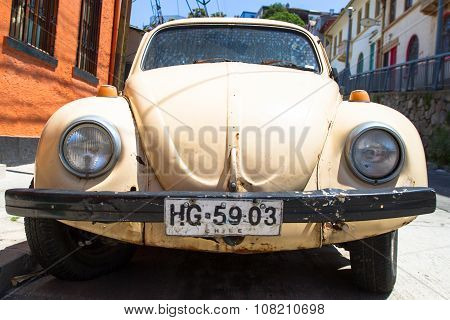 VALPARAISO - NOVEMBER 07: Vintage car on the streets of the Alegre district of the protected UNESCO World Heritage Site of Valparaiso on November 7 2015 in Valparaiso Chile