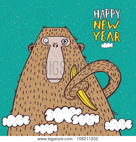 Happy New Year Monkey With Banana