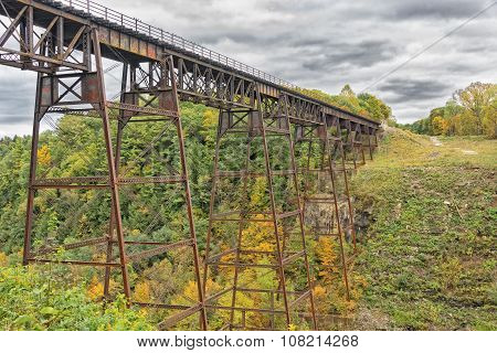Letchworth Railorad Trestle In Autumn