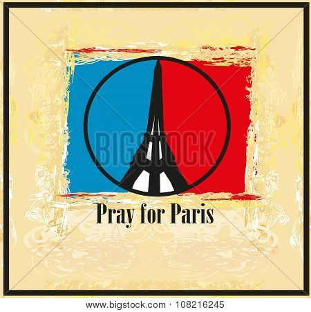 Pray For Paris - Vector Illustration Card