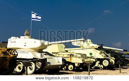 Tanks In Yad La-shiryon Armored Corps Museum At Latrun , Israel