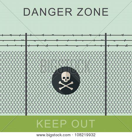 Danger zone and skull sign.
