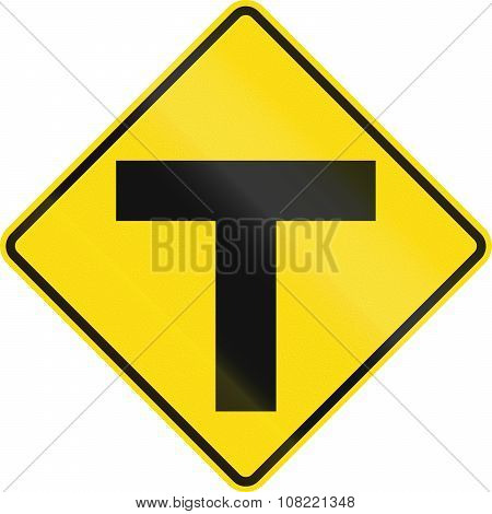 New Zealand Road Sign - Uncontrolled T-junction Ahead