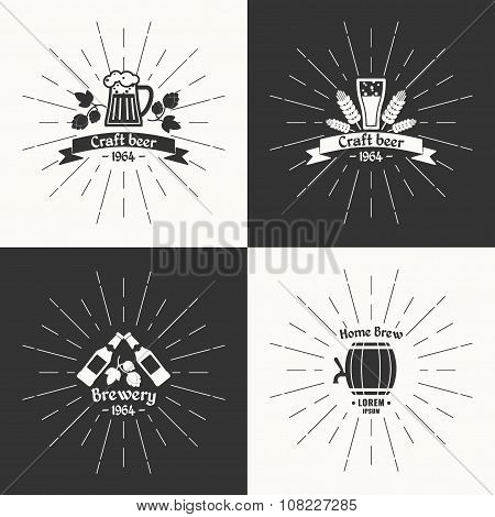 Set. Vintage logo beer. Brewery. Sign design poster advertising. Vector elements. poster