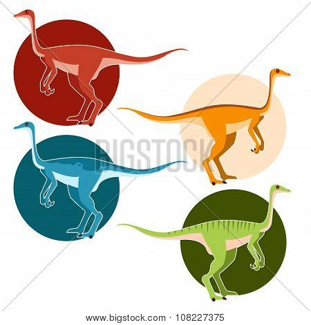 Set of ostrich dinosaurs