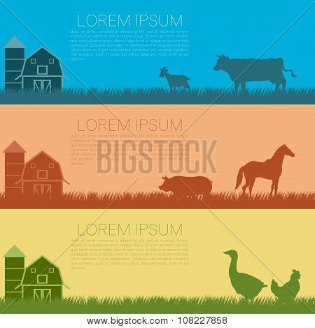Set of farm banners