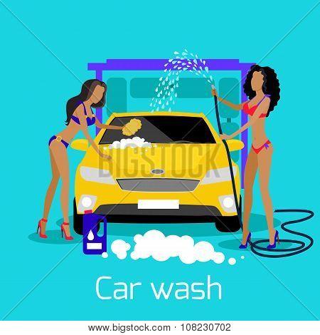 Girl Car Wash Flat Concept Icon