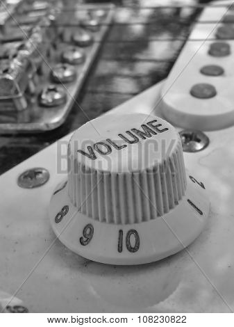 Close up of Volume Knob on electric Guitar