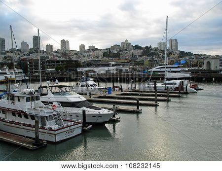 SAN FRANCISCO, CA - NOVEMBER 17: San Francisco Boats docked at Marina Pier 39 November 17, 2012 in San Francisco, California