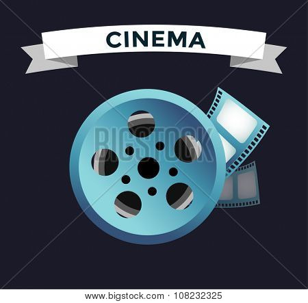 Film cinema technology vector. Twisted movie film strip with round box. Cinema film roll vector illustration. Cinema films 3d design, vector cinema movie image illustration. Movie logo icon isolated
