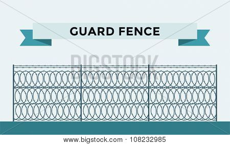 Metallic fence isolated on background. Fences vector illustration. Fences railing vector isolated. Metall fence, long fence, vector fence. Fence silhouette construction isolated