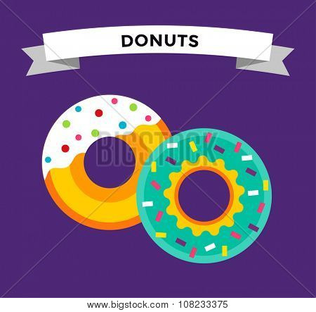 Donut vector isolated. Donuts fast food restaurant. Deserts food cakes donuts. Sweet donuts with sugar and testy cream. Bakery donut, cake food and sweet