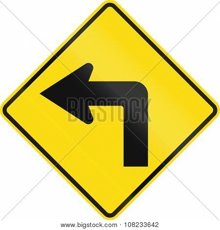New Zealand Road Sign Pw-16 - Sharp Curve 90 Degrees To Left