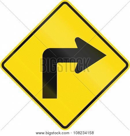 New Zealand Road Sign Pw-16 - Sharp Curve 90 Degrees To Right