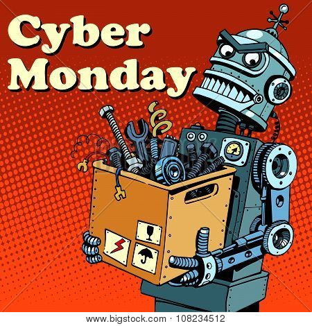 Robot Cyber Monday gadgets and electronics pop art retro style poster