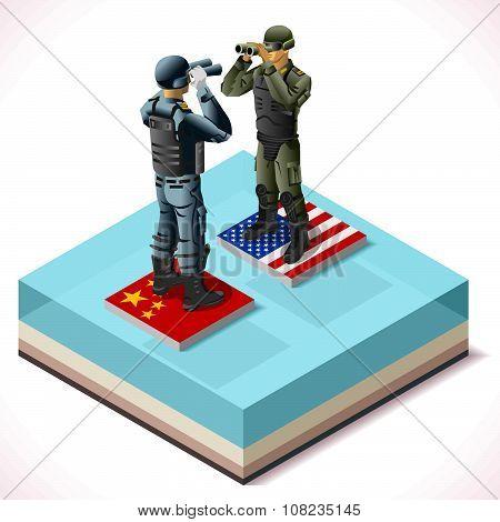 China Usa 01 Infographic Isometric