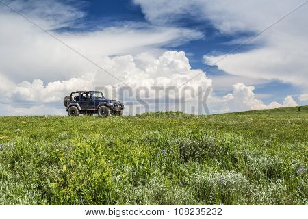 Jeep On A Mountain In Utah