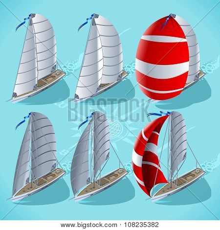 Sail Boat Set 01 Vehicle Isometric