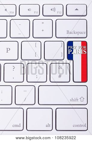 Pray For Paris Sign On France Flag In Keyboard