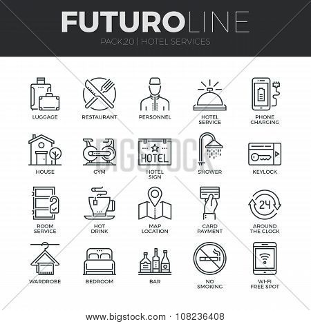Hotel Services Futuro Line Icons Set